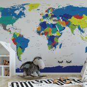 Adesivo Mapa Mundi Colorido