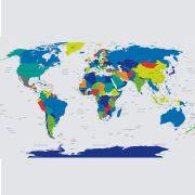38068a208 Adesivo Mapa Mundi Colorido na Stickeria