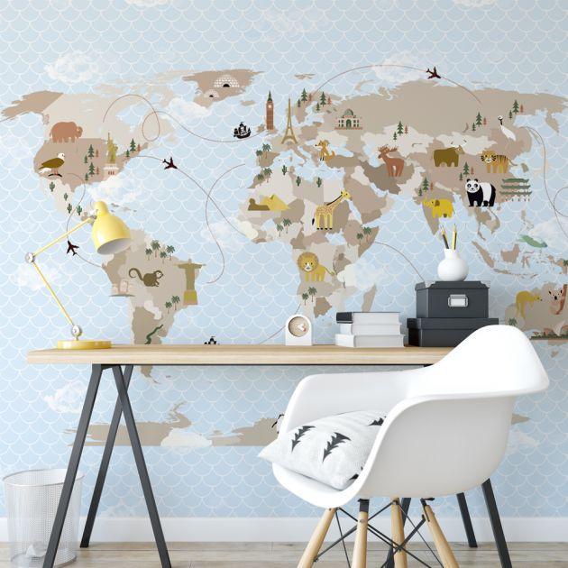 Adesivo Mapa Mundi Monumentos